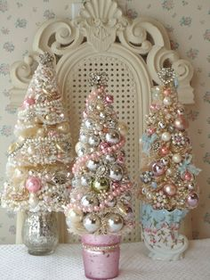 more sweet bottle brush trees. i love pearls and lace. great hostess gifts or house guest gifts over the holidays! glass votives from dollar store or wee clay pots ~ Di