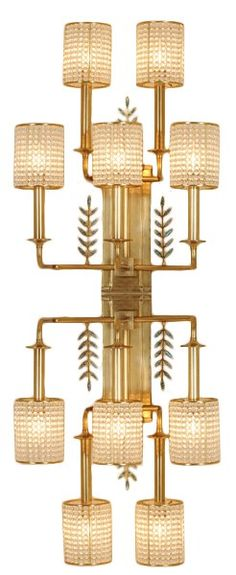 Celerie Kemble's Furniture Collection for Henredon: Up/Down brass wall sconces with paua-shell inlay and glass-bead shades