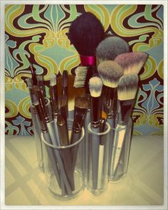 Great makeup brush organizer! Tubo Countertop Organizer by Umbra $12.99 at The Container Store