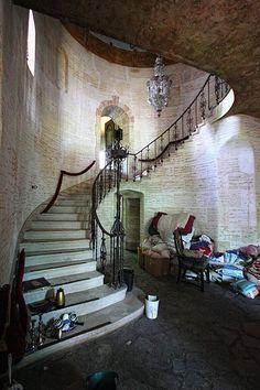 Spiral staircase inside Mansion Florida, USA