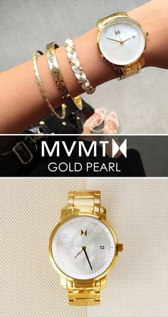 Quality crafted minimalism meets elegant chic design. Born in Santa Monica, California, the MVMT Watches initiative is to design fashion-forward products, and offer them at a revolutionary price. Let this Gold Pearl watch complete your accessory collection for just $125. Compliments guaranteed. Click the buy button to get it now!