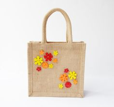 Items similar to Small flower button jute bags in red orange and yellow on Etsy