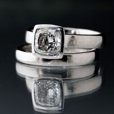 Cushion Cut 1 Carat Diamond Bezel Set Solitaire Engagement Ring