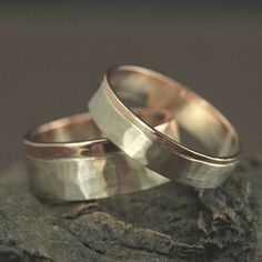 Two Tone Wedding Band Set His And Hers Rings Handmade
