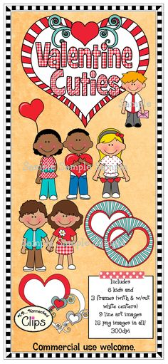 Valentine Cuties and Frames $ http://www.teacherspayteachers.com/Product/Clip-Art-Valentine-Cuties-with-Frames-1037001