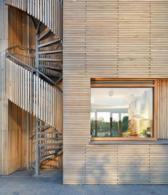 Villa Rieteiland-Oost by Egeon Architecten-Modern Mansion Wrapped in Wood Spiral Staircase Kits, Staircase Outdoor, Spiral Stairs Design, Staircase Design, Spiral Staircases, Stairs Architecture, Architecture Design, External Staircase, Timber Stair