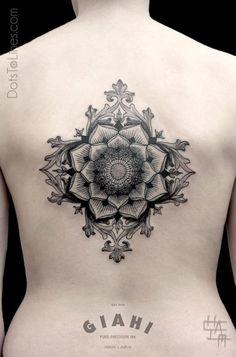 Mandala Grey Ink Beautiful Tattoo On Back