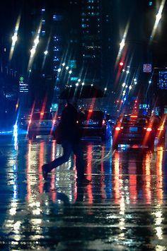 Rainy night in the city.