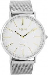 Oozoo Ultra Slim Vintage Uhr C7386 - gold/weiss - 40 mm - Meshband