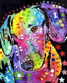 dean Russo Dog Dogs Pet Pets Portrait Dachshund Doxie Weiner weiner Dog Ebay Pop pop Art Graffiti small Breed Akc Animal Wildlife Painting - Tilted Dachshund by Dean Russo