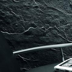 Wallpaper - Wandbekleidung Steinoptik Schiefer schwarz