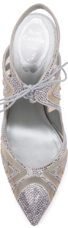 Rene Caovilla Mesh & Strass Point-Toe Slingback Sandals