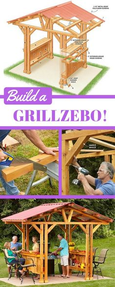 "If you're looking for outdoor bar ideas or DIY gazebo plans, this ""grillzebo"" is perfect. It's big enough to accommodate most standard grills but small enough that it might just fit on your existing patio. Customize your own grillzebo with lighting, grill Grill Gazebo, Diy Gazebo, Gazebo Plans, Backyard Gazebo, Gazebo Ideas, Patio Ideas, Pergola Kits, Backyard Ideas, Backyard Landscaping"