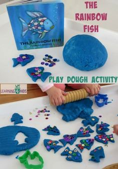 Kindergarten-The Rainbow Fish by Marcus Pfister inspired activity - using play dough and sequins to re-create the story Rainbow Fish Activities, Playdough Activities, Preschool Activities, Rainbow Fish Crafts, Rainbow Playdough, Summer Activities, All About Me Activities Eyfs, Toddler Book Activities, Water Theme Preschool