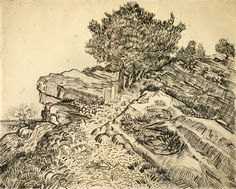 The Rock of Montmajour with Pine Trees Arles, July 1888 Vincent van Gogh - pencil, pen and reed pen and brush and ink, on paper Vincent Van Gogh, Van Gogh Drawings, Van Gogh Paintings, Tree Drawings, Line Drawing, Drawing Sketches, Painting & Drawing, Drawing Tools, Desenhos Van Gogh