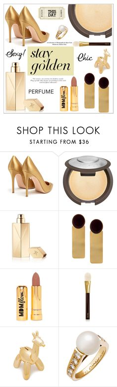 """""""Golden Girls: Gold Beauty"""" by alinepinkskirt on Polyvore featuring beauty, Gianvito Rossi, Becca, Maison Francis Kurkdjian, Silhouette, Nasty Gal, Tom Ford and Cartier"""