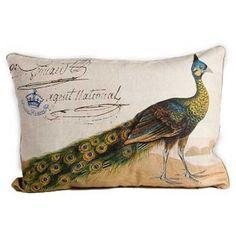 Peacock Lumbar Pillow III