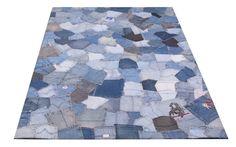 Teppich Fußbodenteppich Patchwork Design JEANS Pockets 120x180cm Blau N10092