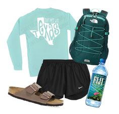 """""""First day"""" by so-preppy ❤ liked on Polyvore featuring NIKE, The North Face and Birkenstock"""