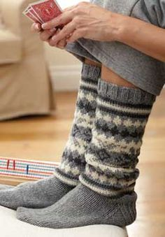 These cozy Patons Classic Wool socks are an excellent first fair isle project!