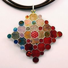Sterling silver and enamel pendant, QuiltJoia collection, Fine Jewelry inspired by Quilting