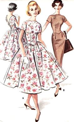 1950s Beautiful Dress Pattern Slim or Full Skirt Dress Bateau Neckline, V Back Day or Party Evening McCalls 4123 Vintage Sewing Pattern Bust 34