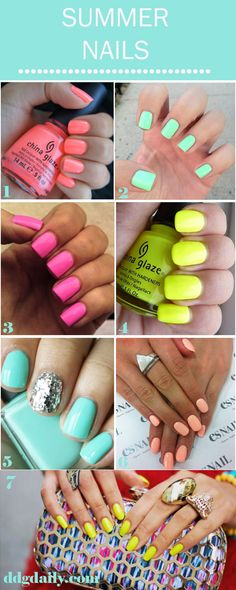 summer nail inspiration #brightnails #nailart #beach cool trick crack a glow stick and put it in ur fave neon polish really works!!!