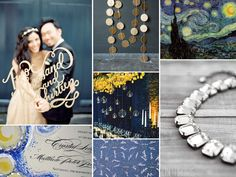 starry nights van gogh themed wedding inspiration board with gray, blue, gold, and yellow wedding details