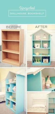 DIY Kids Furniture Projects • Lots of tutorials! Including, from 'simple as that', this amazing and creative DIY dollhouse bookshelf made from an old upcycled bookcase.