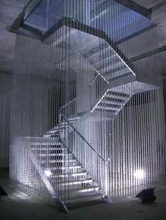 Monica Bonvicini, Stairway to Hell, 2003, Steel, steel panels, chains, broken safety glass, 850 x 360 x 400 cm
