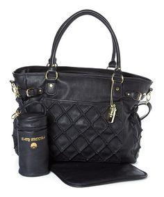 7c0d9dc06f77 Big Buddha Black Quilted Diaper Bag Set