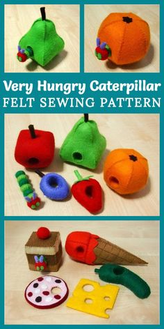 How awesome is this Felt Very Hungry Caterpillar Set sewing pattern by FeltKr. How awesome is this Felt Very Hungry Caterpillar Set sewing pattern by FeltKreations? This is su Sewing Projects For Kids, Sewing For Kids, Sewing Ideas, Hungry Caterpillar Craft, Sewing Toys, Baby Sewing, Sewing Crafts, Felt Toys, Stuffed Toys Patterns