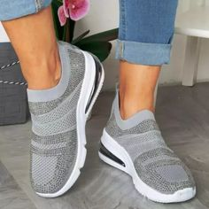 Flat Heel Daily All Season Sneakers Sneakers Mode, Slip On Sneakers, Casual Sneakers, Sneakers Fashion, Fashion Shoes, High Top Sneakers, Burgundy Sneakers, Sneaker Brands, Types Of Shoes