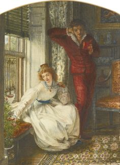 The Book of Sonnets (1868). Sir Edward John Poynter (English, 1836-1919). Watercolour.  The Book of Sonnets captures the romantic mood that was parodied in Gilbert and Sullivan's opera Patience. The movement was embodied in the fascination with love-poetry, collecting blue-and-white china, ebonised furniture and its followers' whimsical costumes - all elements that are embodied in Poynter's watercolour.