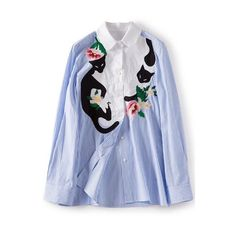 d196d2a9a89c9 New Stylish Lapel Striped Cat   Floral Embroidery Button Down Shirt (1