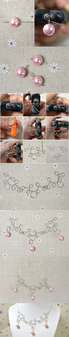 Tutorial on Making a Simple but Elegant Wire Wrapped Necklace with Pearl Beads from LC.Pandahall.com
