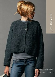 Jo Sharp Garter Stitch Jacket and Cabled Hat Pattern, Knitting Pattern Knitting Patterns Free, Free Knitting, Free Pattern, Knitting Sweaters, Knitting Wool, Sewing Patterns, Knit Jacket, Knit Cardigan, Gray Sweater