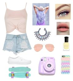 """Pastel☄"" by amarianamichelle ❤ liked on Polyvore featuring Charlotte Russe, Victoria's Secret, Topshop, Vans, Ray-Ban, Polaroid, Casetify, Deborah Lippmann and pastel"