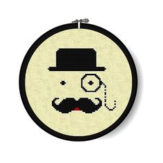 MONOCLE MAN (Kit) - Vintage Inspired Cross Stitch -Hoop, Pattern, DMC floss, Aida Cloth & Needle Included