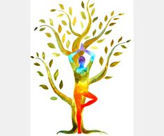 Yoga with Tree original watercolor painting by AndreaPaintings