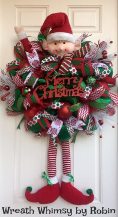 XL Deco Mesh Christmas Elf Wreath in Emerald Green Red, Holiday Wreath, Whimsical Wreath, Elf Decor, Elf Head and Legs by WreathWhimsybyRobin on Etsy