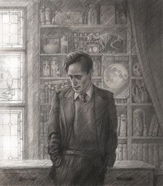 """Lupin by Jim kay """"I had been awake for pretty much two days straight when I started this, and I cannot remember working on it at all! I'm very fond of Lupin, one of several somewhat tragic characters in the Potter world."""" - Jim Kay #jimkay #lupin"""