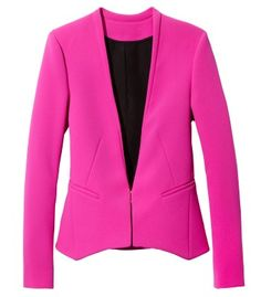 Diane von Furstenberg Illene Crepe Blazer The bold blazer feels utterly of the moment, and we love the sleek silhouette of this pink crepe jacket, with an easy hook-and-eye closure for a streamlined fit. Pink Fashion, Fashion Outfits, Fashion Trends, Fashion News, Knit Jacket, Blazer Jacket, Autumn Winter Fashion, Winter Style, Diane Von Furstenberg