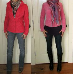 Jackets for Pear shaped.  fitted at waist and flare out at the top of the hip.  Add scarf to draw attention upwards. Wear dark bottoms and lighter top