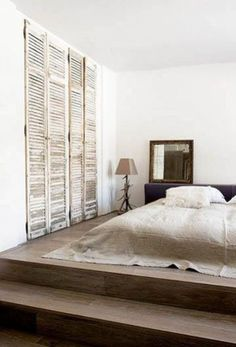 """Furniture 555490935260629394 - I have always envisioned a """"sleeping room"""" with soft upholstered platforms, tiny bedside tables, & adjustable lighting. No other furniture at all. [ it'll never happen-lol ] Source by moiiza Wardrobe Doors, Built In Wardrobe, Closet Doors, Room Closet, Rustic Closet, Wooden Closet, Sliding Door Design, Sliding Doors, Front Doors"""