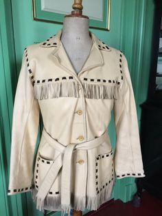 1950s Deerskin fringed 2 tone jacket sz women's 38 VLV door Tonupgirl op Etsy