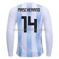 Billiga Fotbollströjor Argentina VM 2018 Javier Mascherano 14 Hemmatröja Långärmad