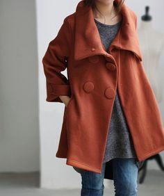 Orange double breasted short short Coat by MaLieb on Etsy, $89.00