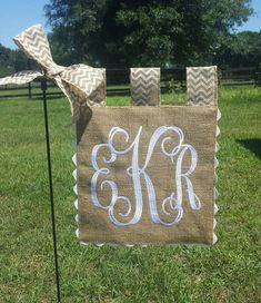 Custom Monogram Burlap Garden Flag   by sewgoddesscreations
