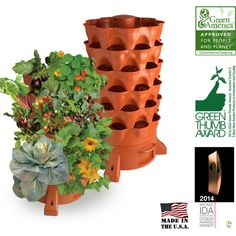 The composting 50 plant accessible vertical Garden Tower for organic patio vegetable gardening by Garden Tower Project.